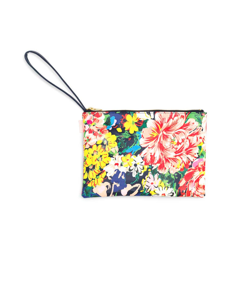 This Get It Together Wristlet Pouch comes in a colorful floral pattern.