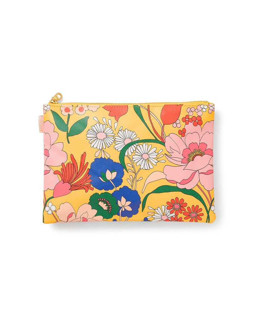 Yellow leatherette wristlet with bright floral pattern all over
