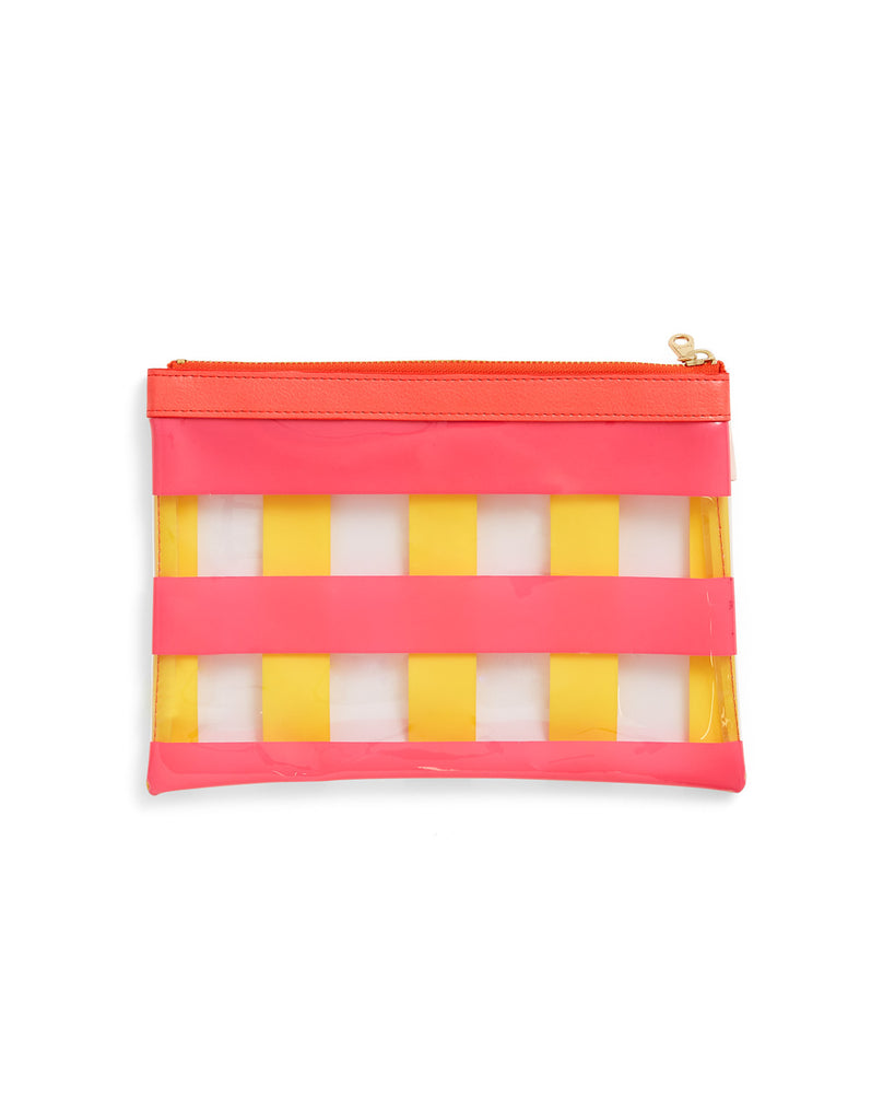 clear plastic zip pouch with yellow and pink stripes