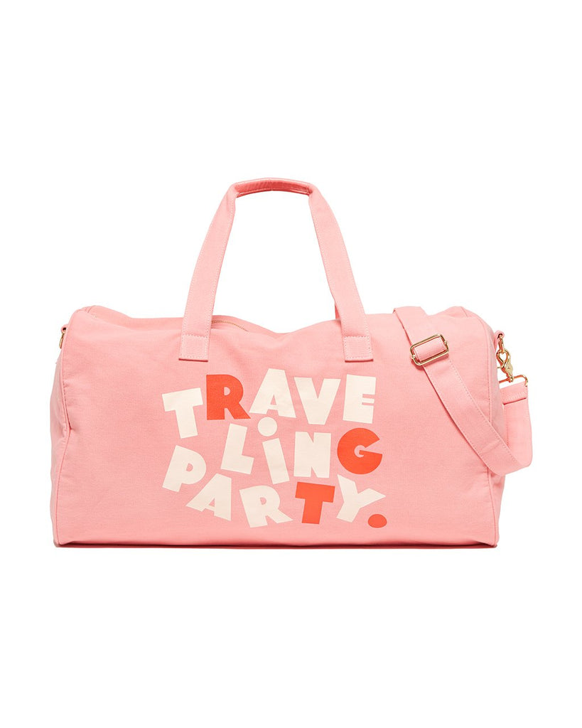 This Getaway Duffle Bag comes in pink, with 'Traveling Party' printed on the side.