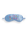 This Getaway Eye Mask comes in light blue, with 'Happy Place' colorfully embroidered on the front.
