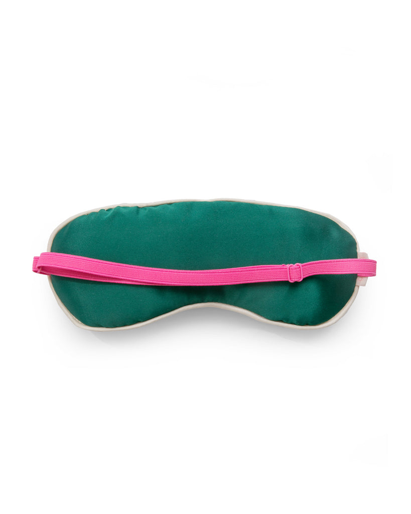 Green satin backing to the eye mask with a hot pink adjustable strap.