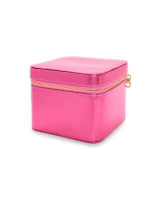 Metallic hot pink leatherette jewelry organizer