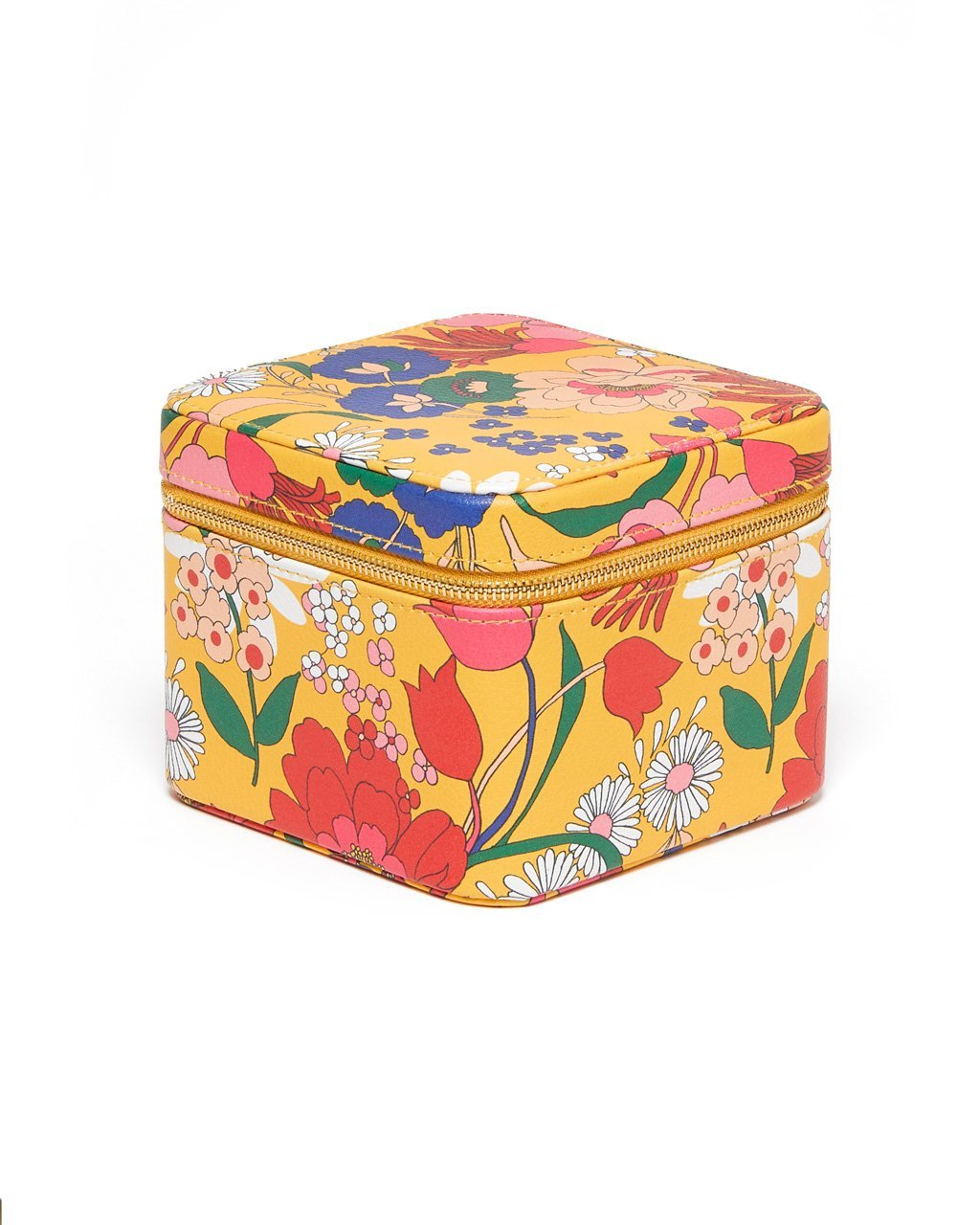 Yellow leatherette jewelry organizer with bright floral pattern