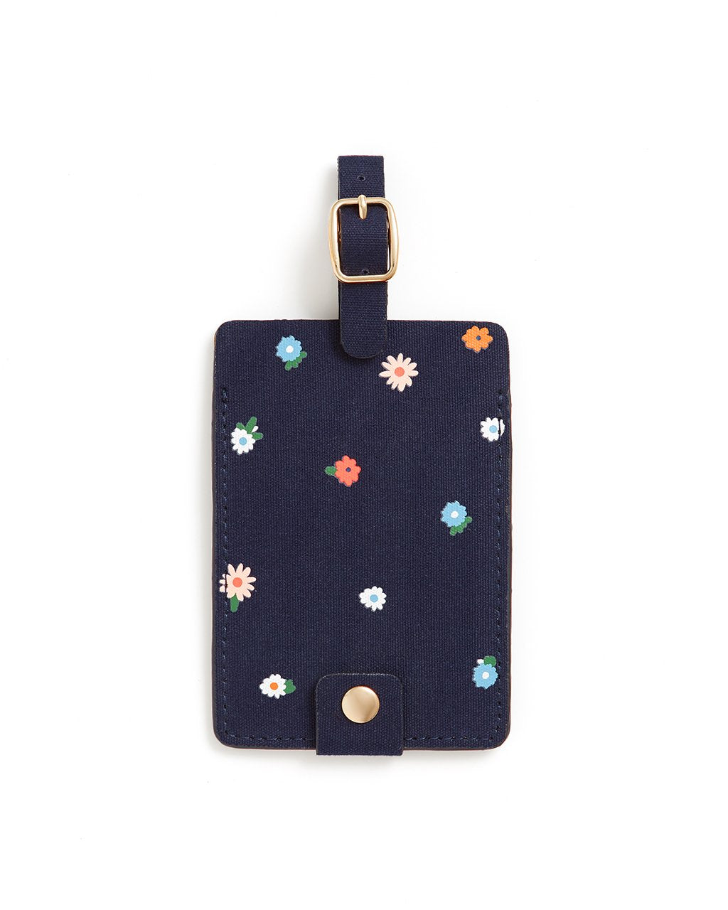 This Getaway Luggage Tag comes in deep navy, with a rainbow polkadot pattern.