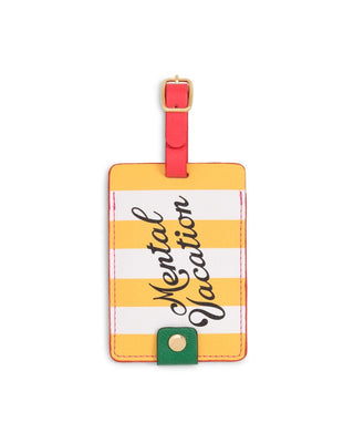 Yellow club stripe luggage tag with quote mental vacation