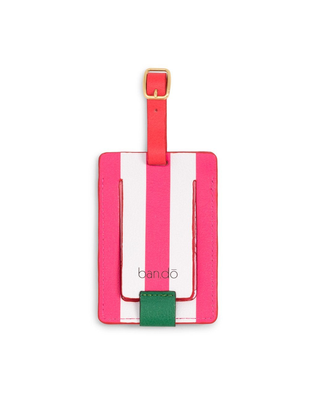 Luggage tag with PVC window on the back