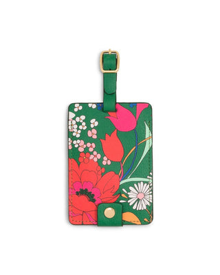 Emerald green luggage tag with floral pattern