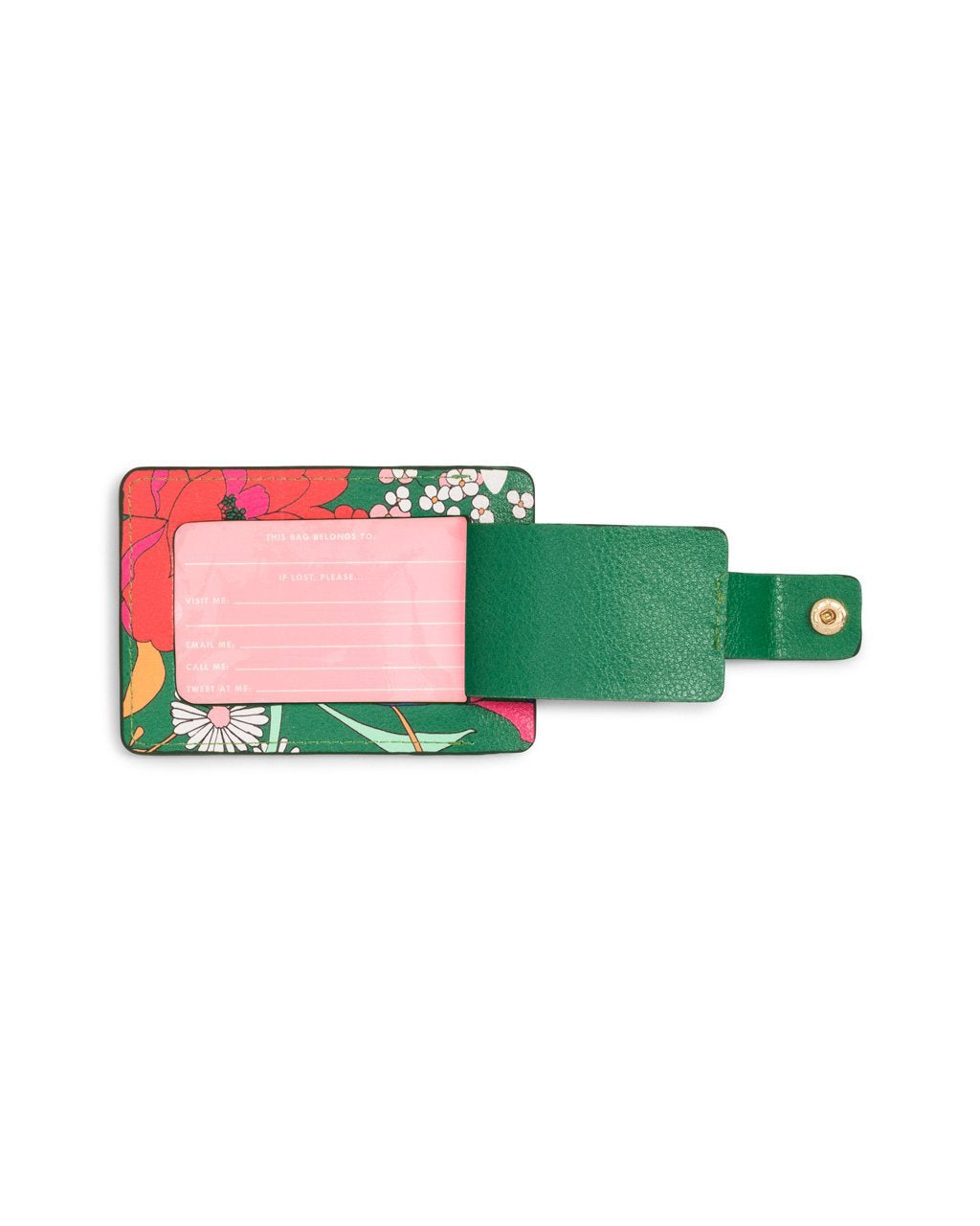 Pink insert included with luggage tag