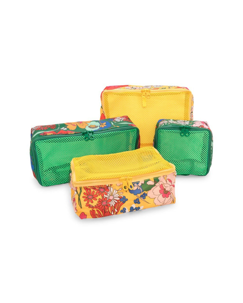 Packing cube set of 5, emerald and yellow floral pattern assorted