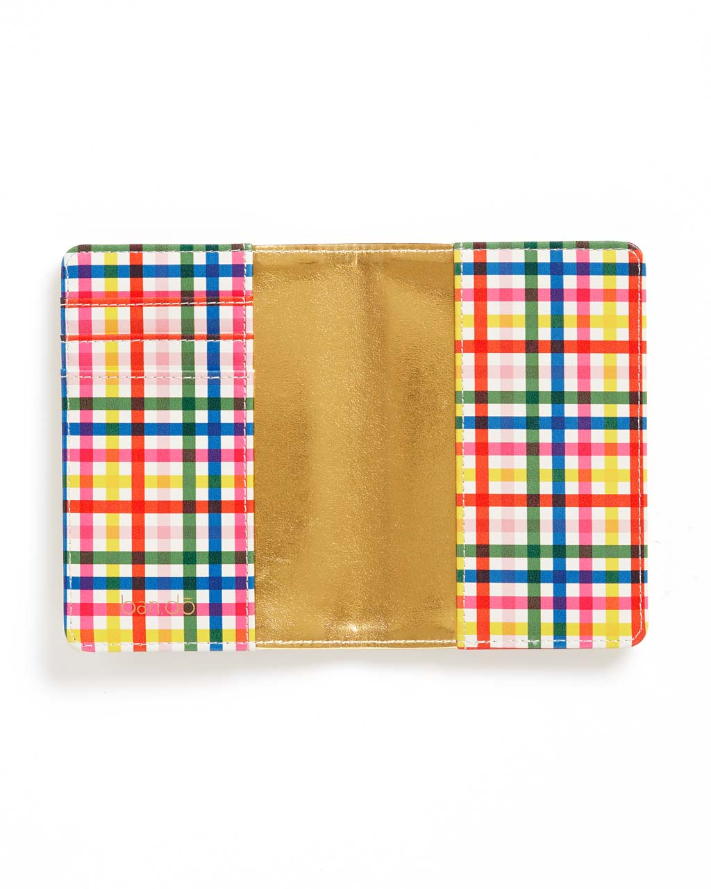 Features a rainbow plaid and shiny gold interior.