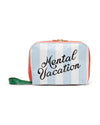 Blue and white club stripe toiletry bag with quote mental vacation