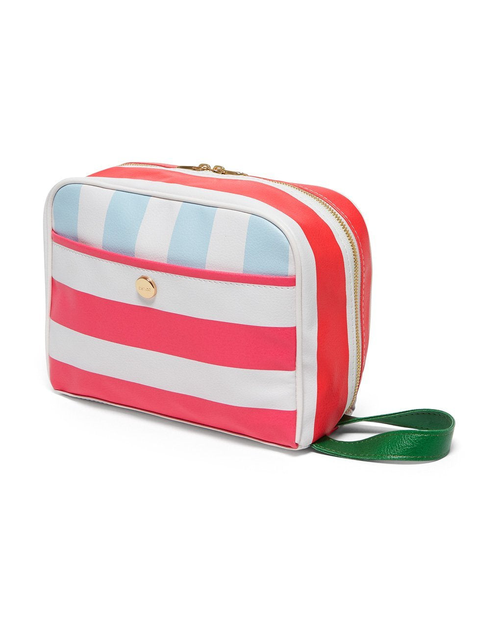 Toiletry bag with nylon exterior including a back pocket and a handle strap