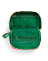 Solid green nylon interior with mesh pocket and middle divider
