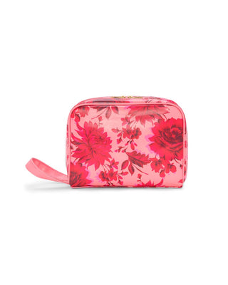 Leatherette toiletries bag in a pink floral motif.