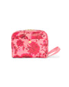 Leatherette toiletries bag in a pink floral motif with a side snap closure.