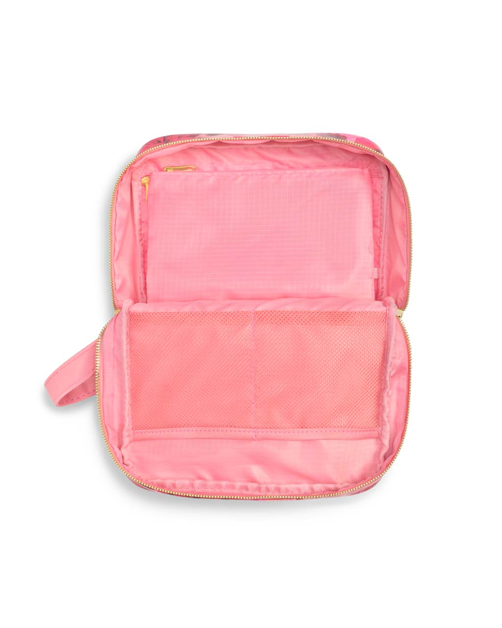 Large pink interior with a wall pocket and center divider in mesh.