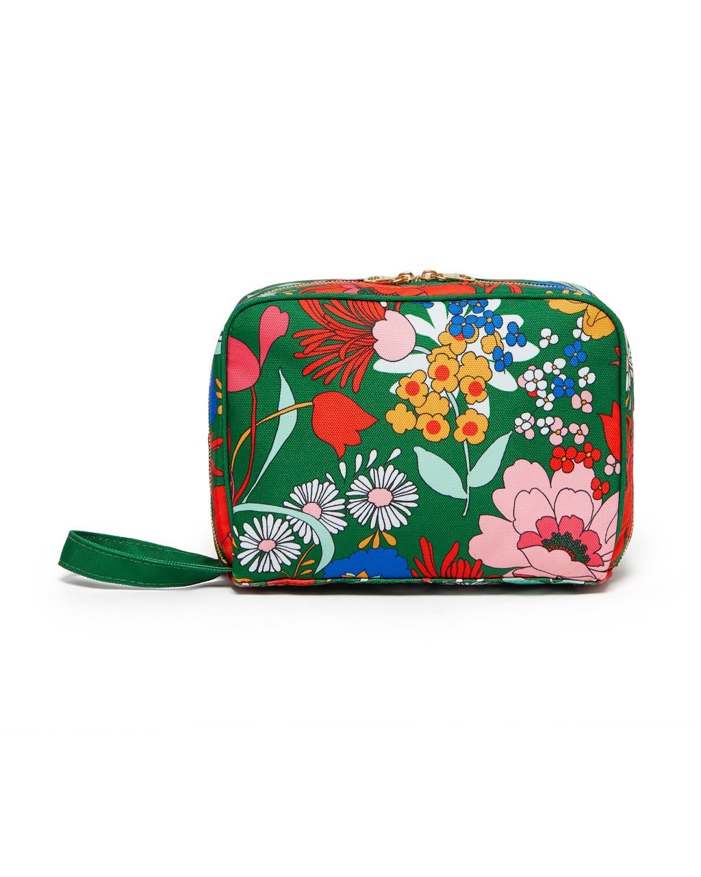 Emerald green toiletry bag with bright floral pattern.