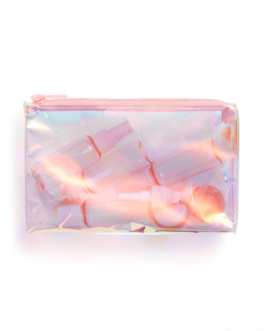 The Getaway Travel Kit comes in a translucent pink pearlescent color.