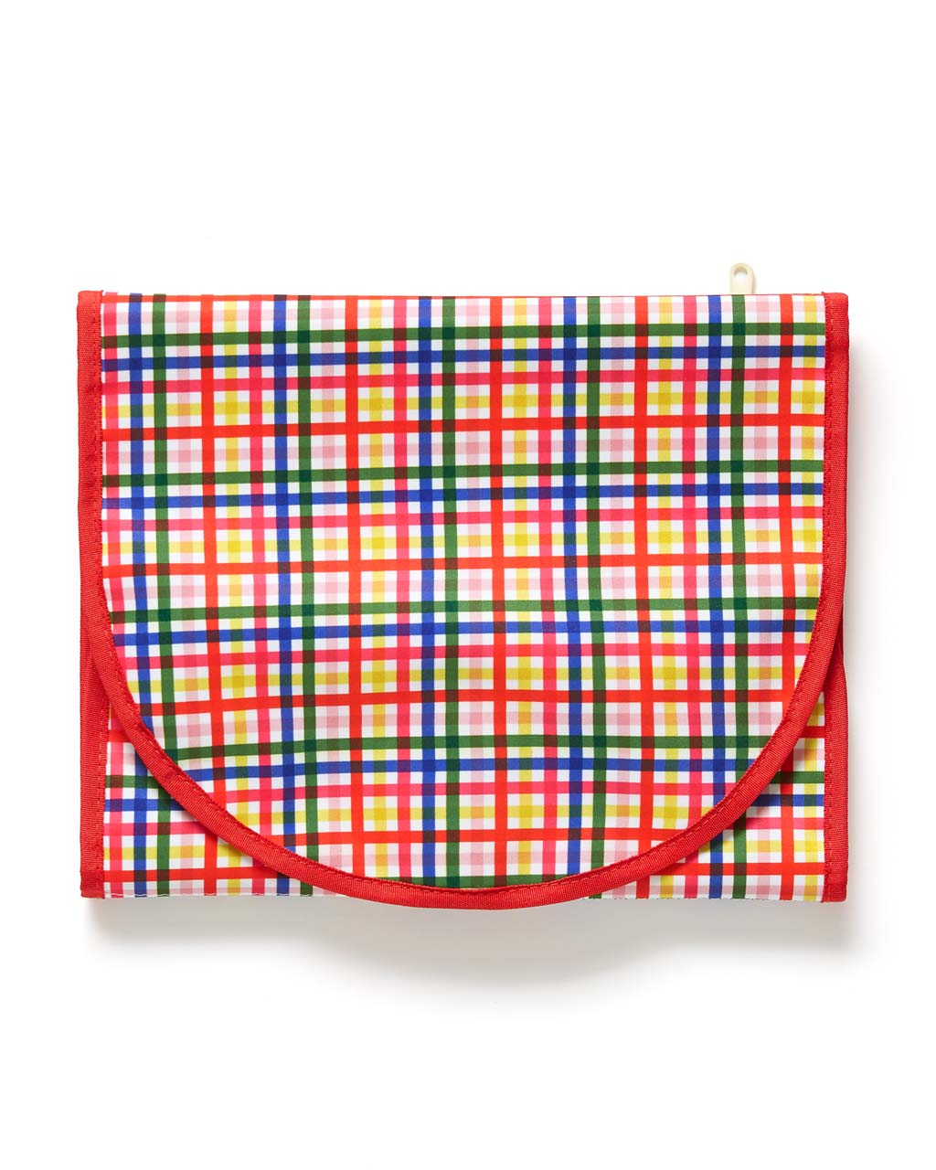 The Getaway Travel Organizer comes in a rainbow plaid pattern.