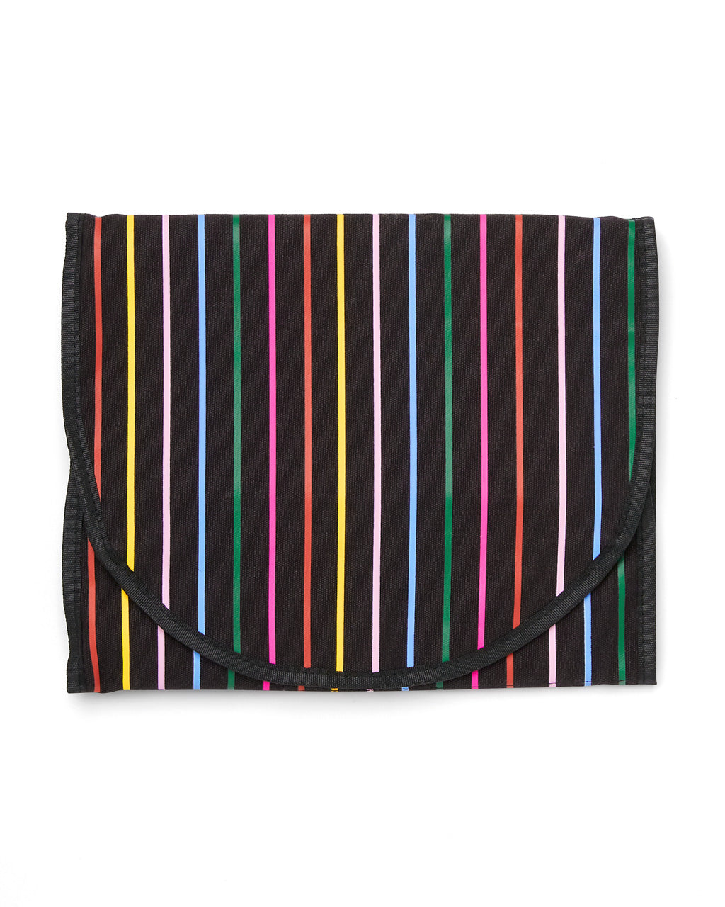 Black travel organizer in a vertical rainbow stripe.