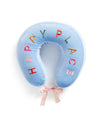 This Getaway Travel Pillow comes in sky blue, with 'Happy Place' colorfully embroidered on the top.