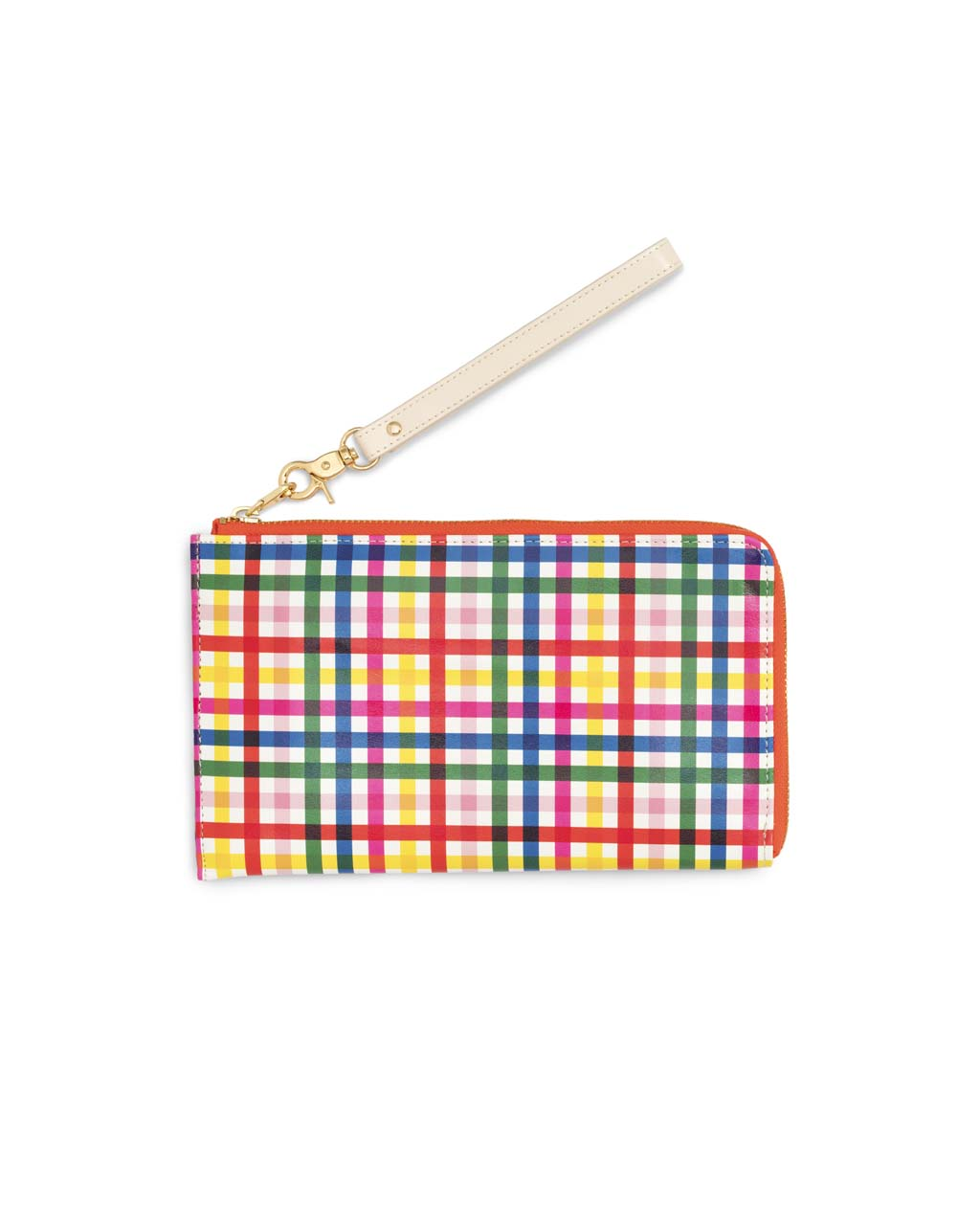 This Getaway Travel Wallet comes in a rainbow plaid pattern.