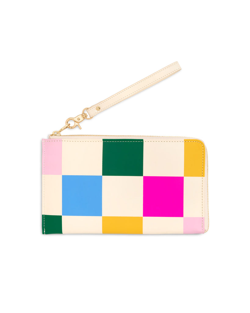 Multi-color checked leatherette travel wallet with a removable wristlet.