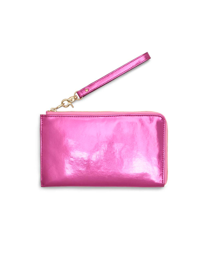 This Getaway Travel Wallet comes in a shiny metallic pink.