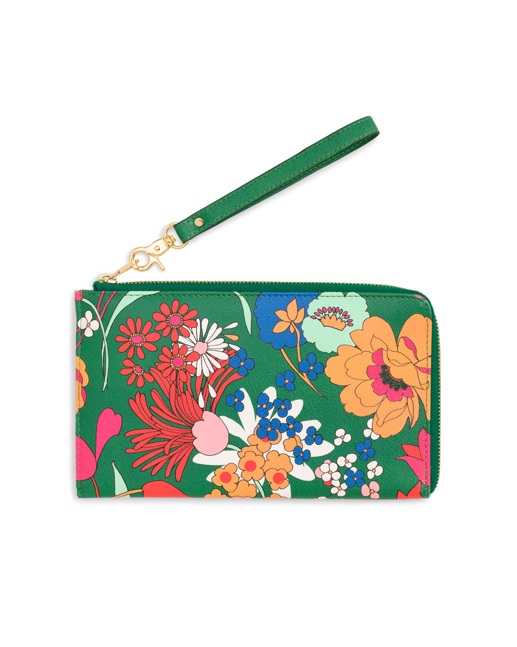 Emerald green leatherette travel wallet with bright floral pattern