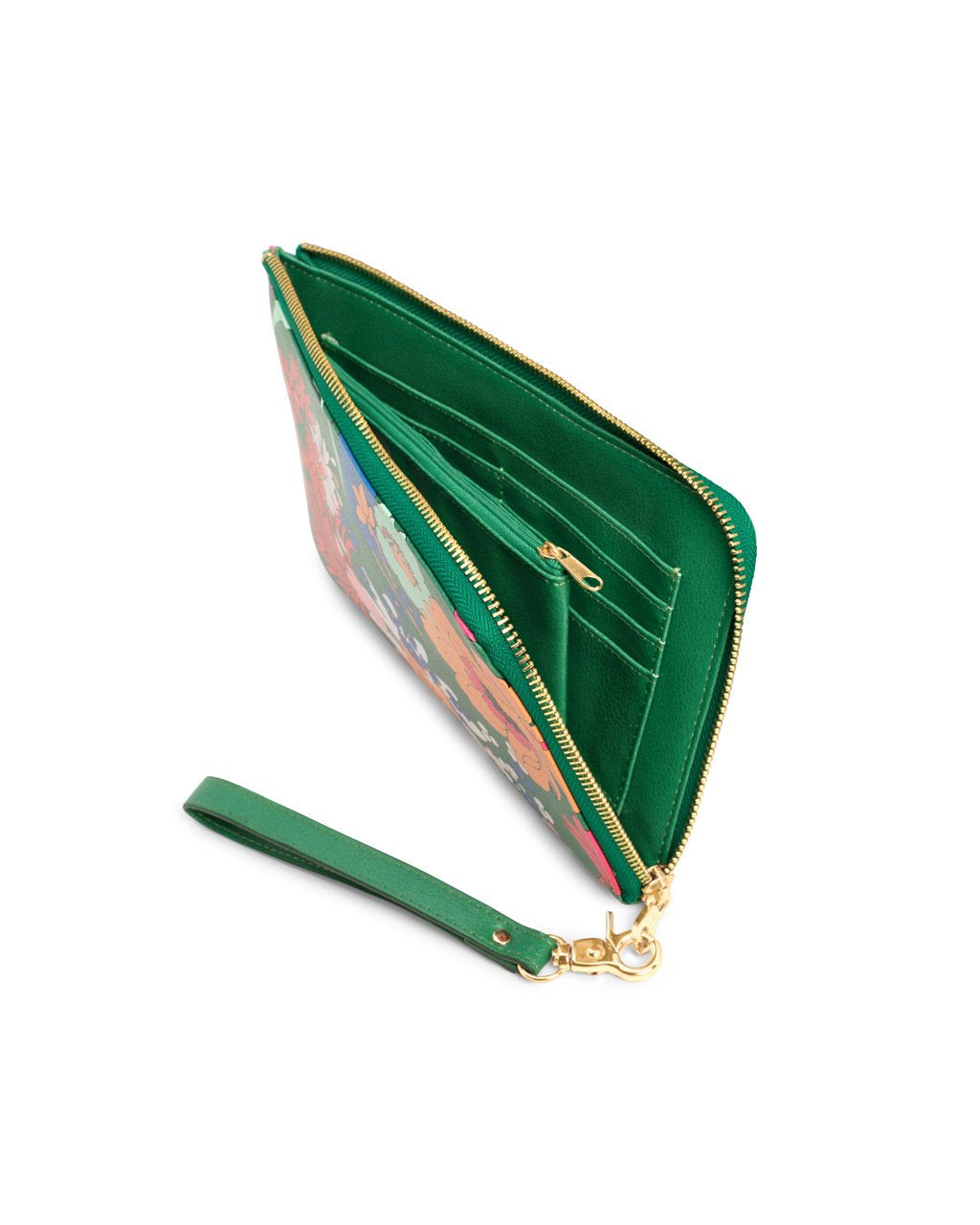 Solid green interior with several card slots and includes a middle zipper pocket