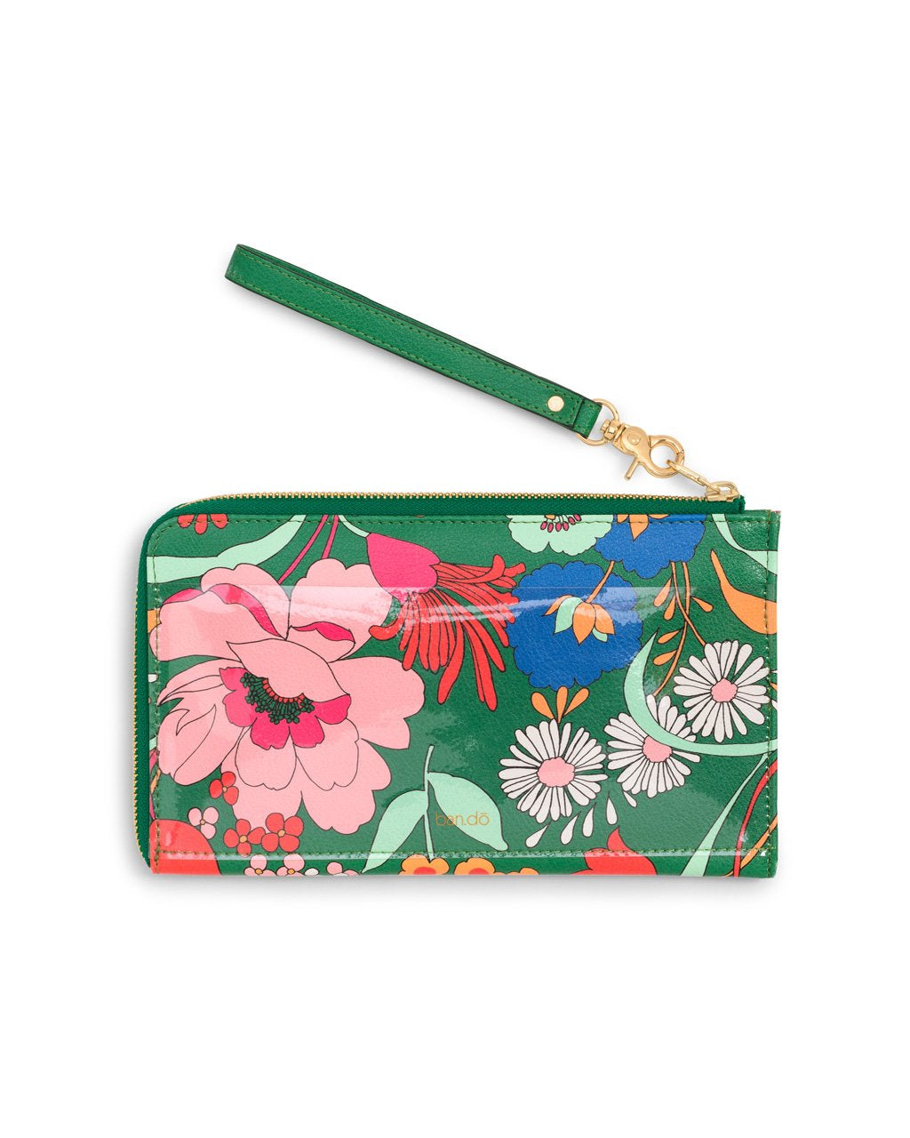 Travel wallet includes removable wristlet strap and back PVC pocket