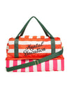 Multi colored club stripe nylon traveler bag