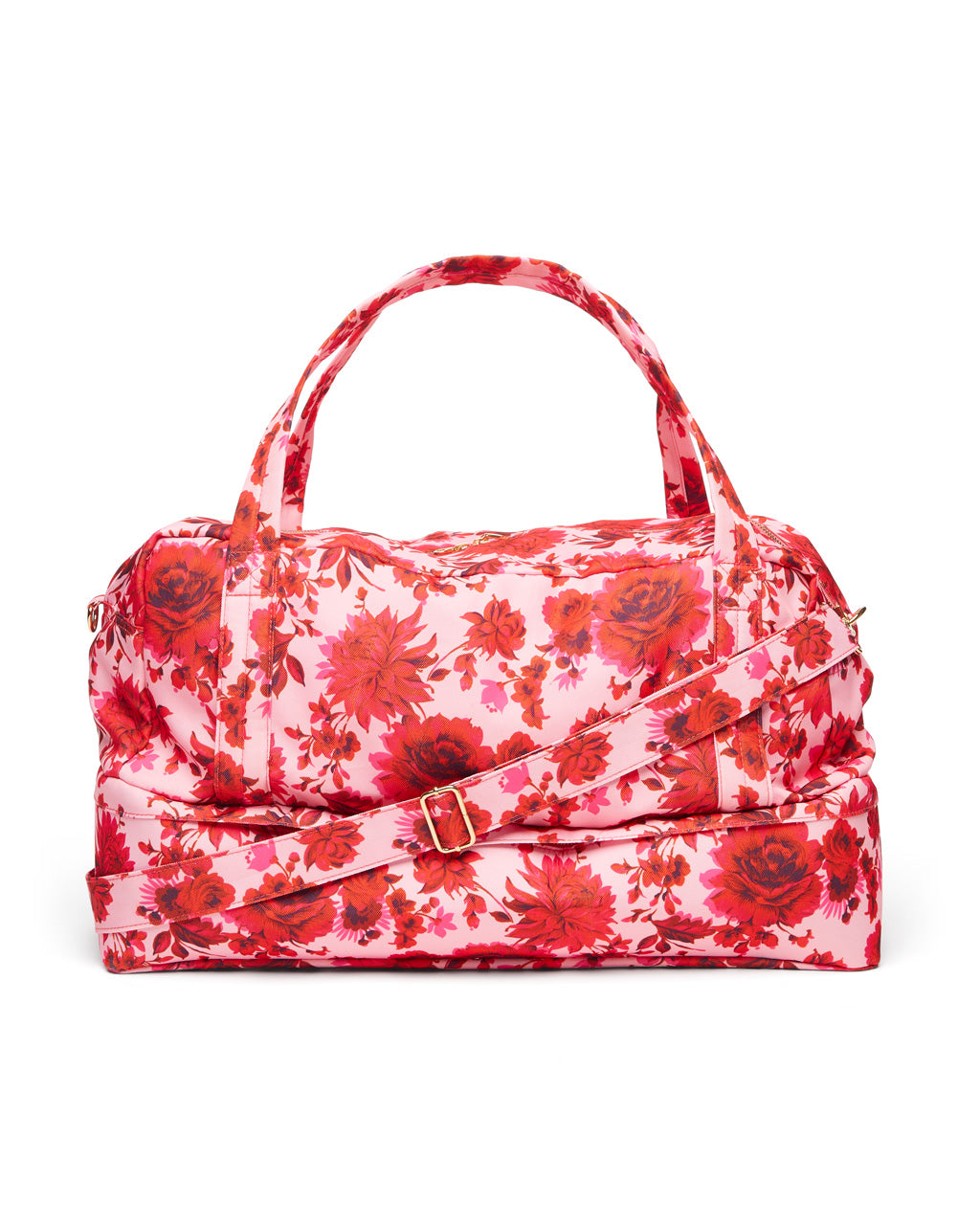 Pink floral travel bag.