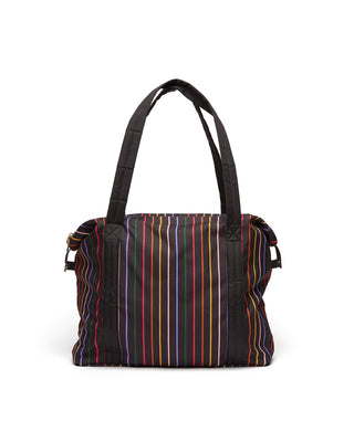 Rainbow striped travel bag.