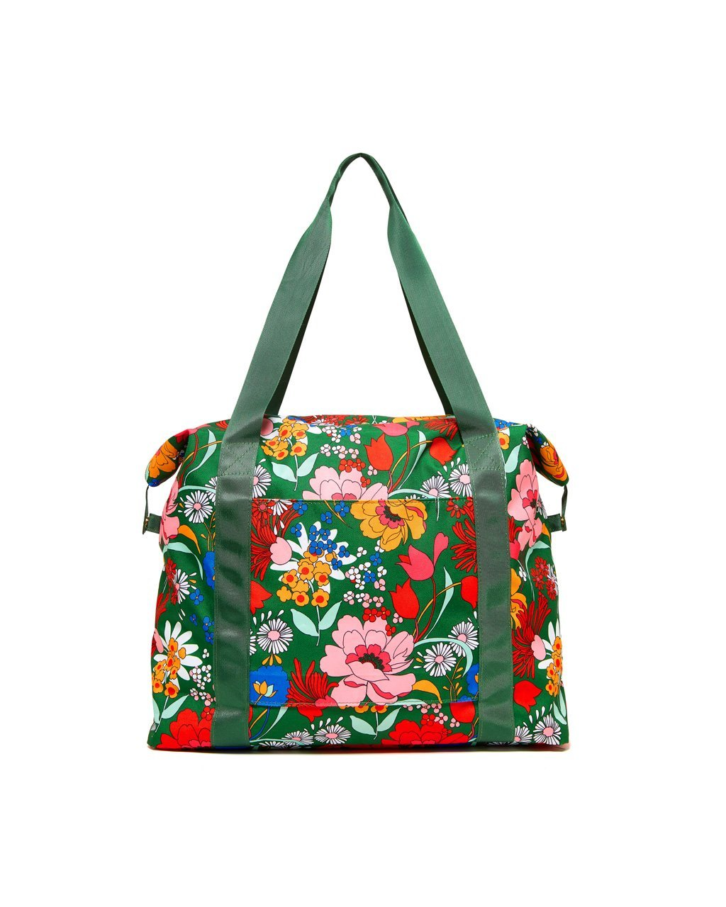 Emerald green nylon floral printed weekender bag