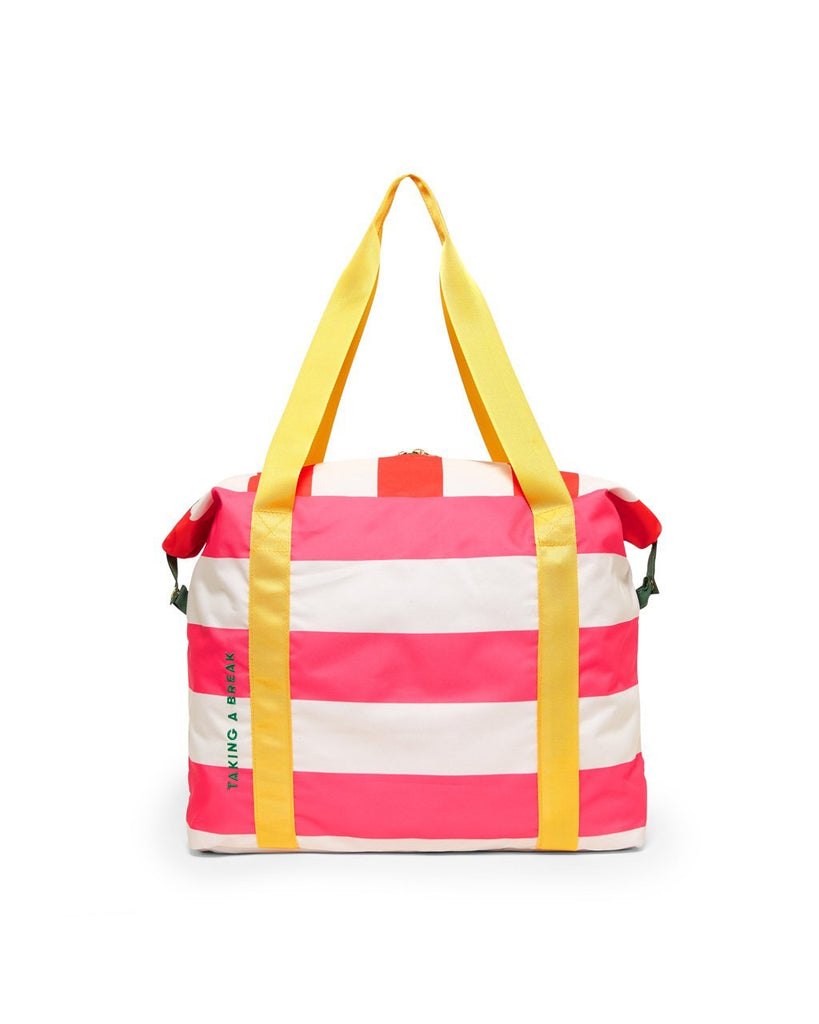 Pink club stripe nylon weekender bag