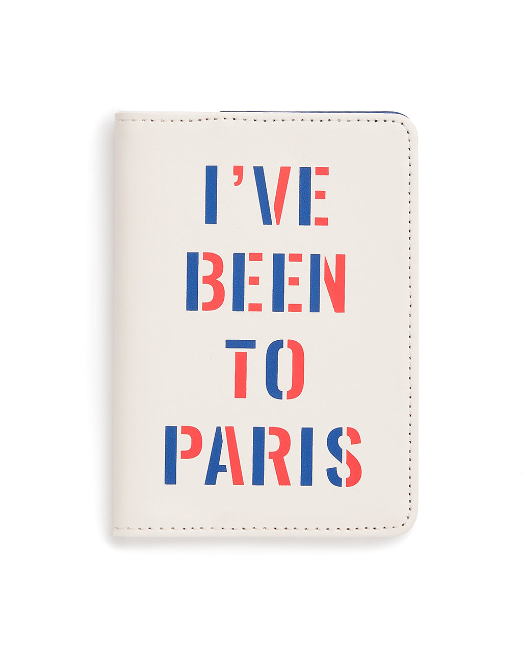 This Getaway Passport Holder comes in white, with 'I've Been To Paris' printed in red and blue on the front.