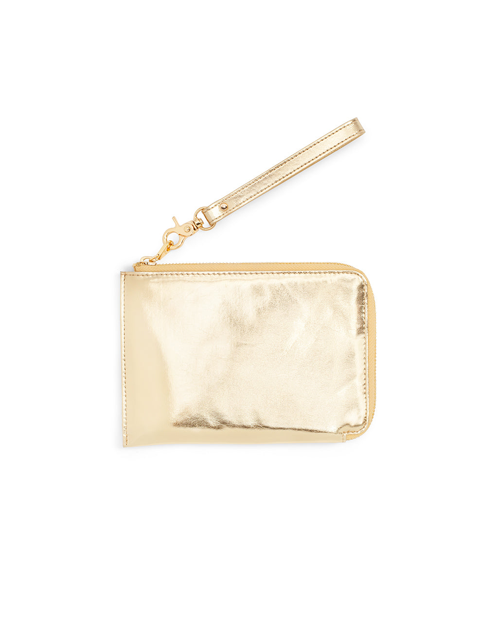 This Getaway Travel Clutch comes in a shiny metallic gold
