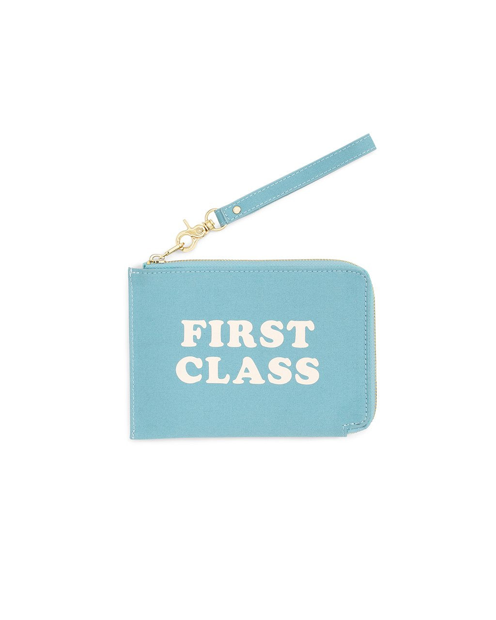 "Blue travel clutch with strap, with text that reads ""FIRST CLASS"""