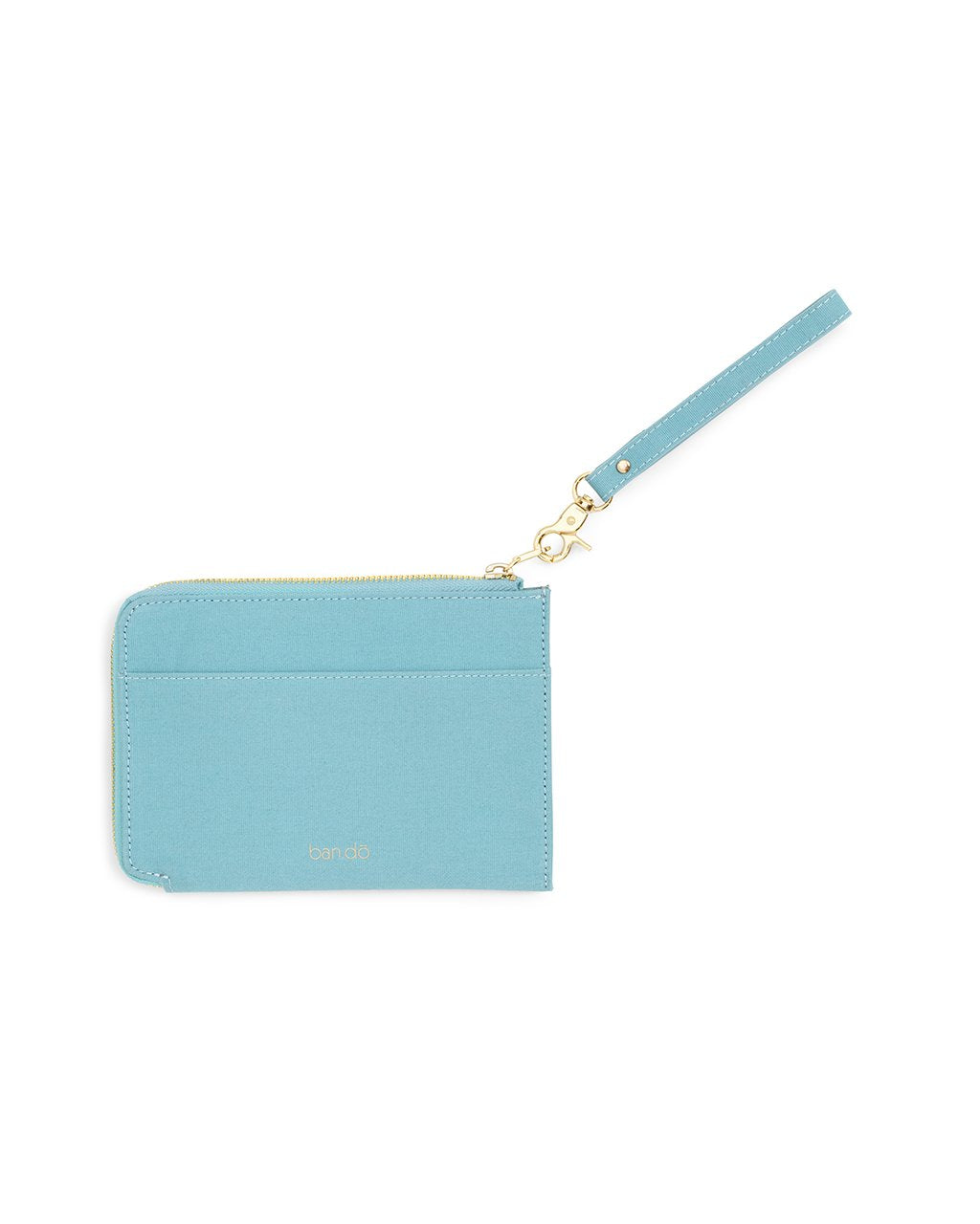 Back view of blue travel clutch