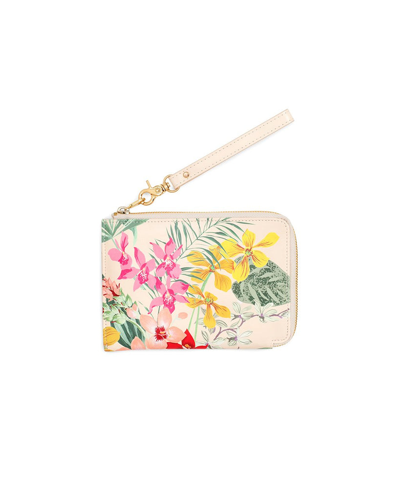 This Getaway Travel Clutch comes in a colorful floral pattern.
