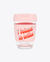 12 oz. glass travel mug with the words i believe in coffee