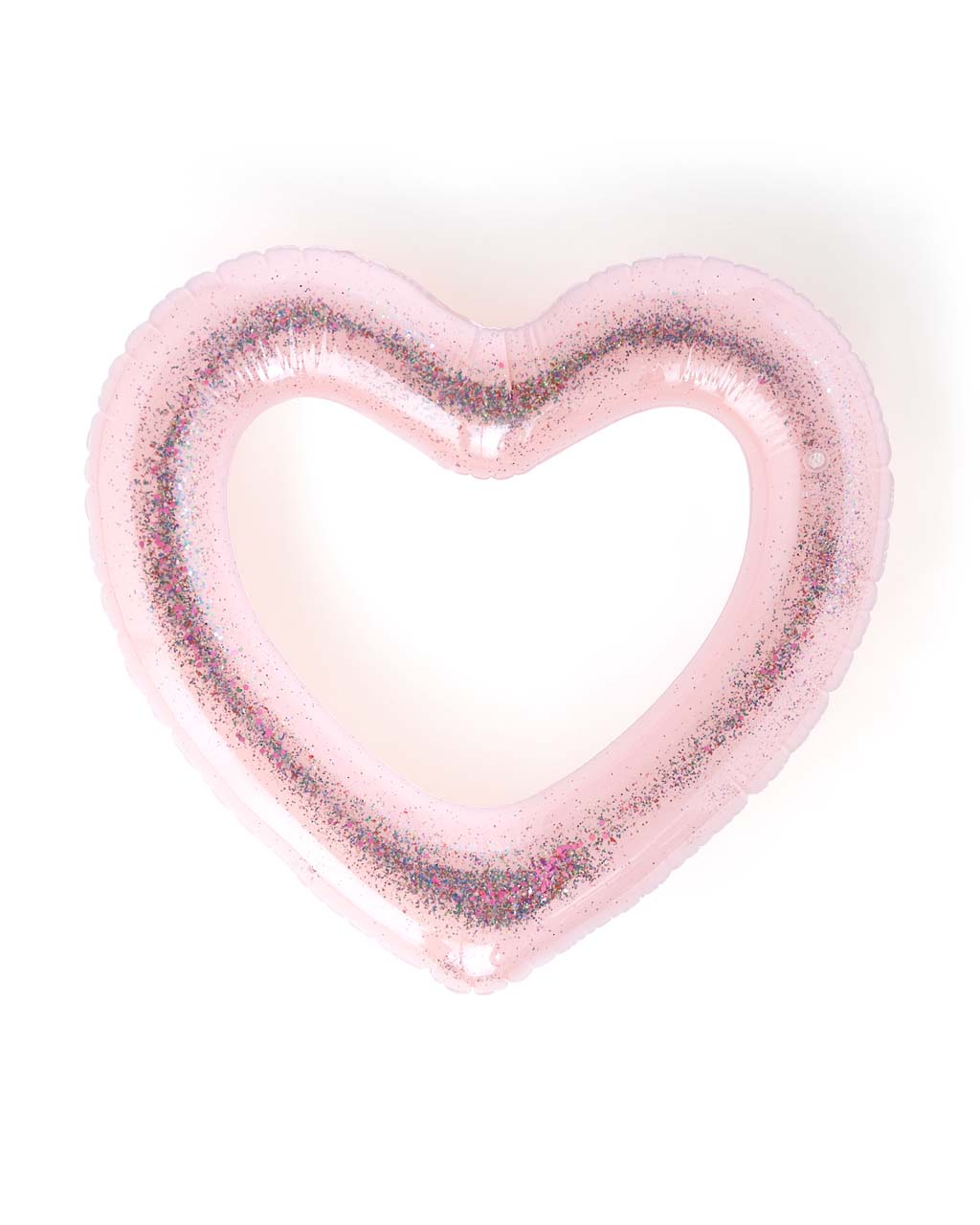 This jumbo heart-shaped innertube comes in heavyweight pink vinyl.