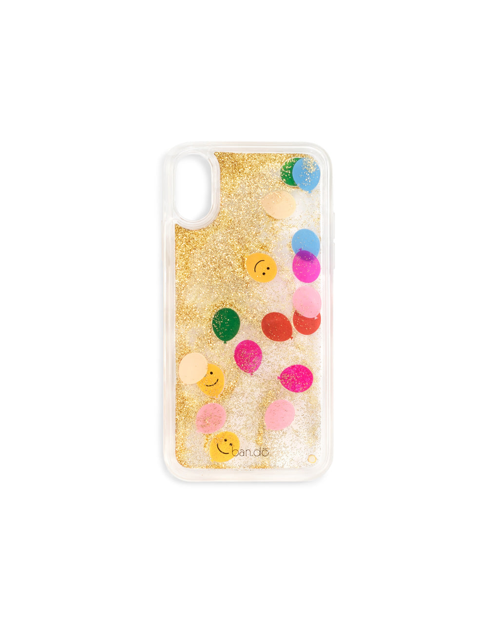 Back shot of a hard clear plastic iphone case filled with gold glitter and floating balloon icons.