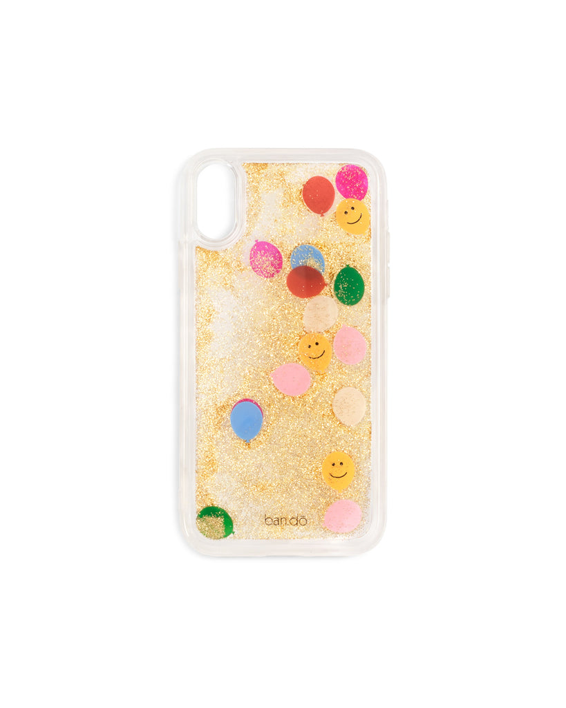 Hard clear plastic iphone case filled with gold glitter and floating balloon icons.