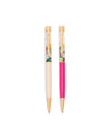 Set of two pens with a clear tube filled with floating glitter in assorted shapes.