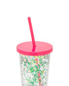 flower bomb sip sip with a pink lid and straw