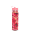 Water bottle with floral pattern and glitter.