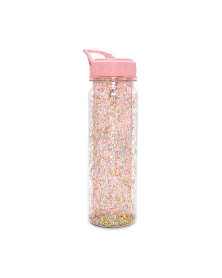 Double-walled acrylic water bottle with glitter.